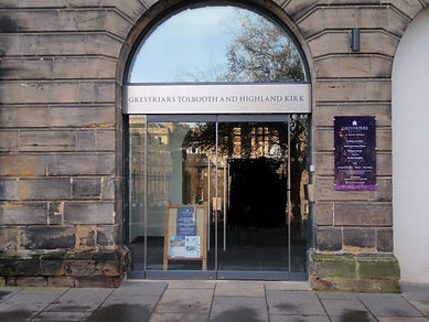 Greyfriar's kirkyard Museum entrance Edinburgh