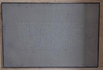 John Watsons Institution. Plaque Ravelst