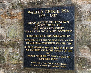 Waltr Geikie Founder deaf church Geyfriars, Edinburgh memorial Plaque