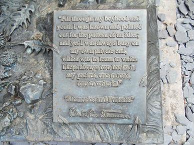 Plaque on Robert Loius Stevenson Statue
