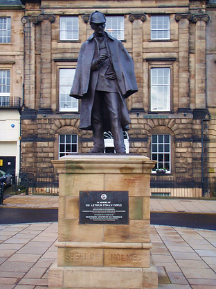 Statue of Sherlock Holmes where Conan Doyle's  house was