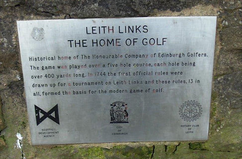 Leith Links Plaque. The Home of Golf