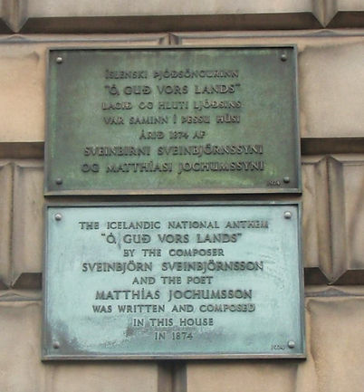 Plaque at house where Iclandic National anthem was written and composed