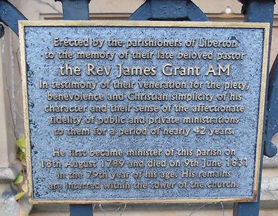 Rev James Grant AM Plaque Liberton Kirk