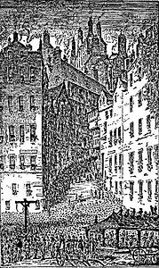 Ancient image of Grassmarket Gallows Edinburgh