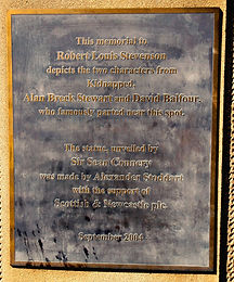 Plaque Of statue of Alan Breck Stuart and David Balfour from Kidnapped
