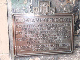 old stamp house close plaque Royal mile