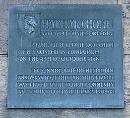 Fryderyk Chopin Plaque Canonmills Edinbu
