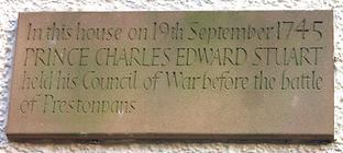 plaque bonnie prince charlie's council of war house duddingston village edinburgh