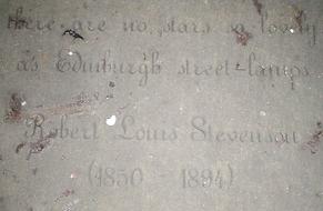 robert louis stevenson's slab in Makars' court royal mile edinburgh