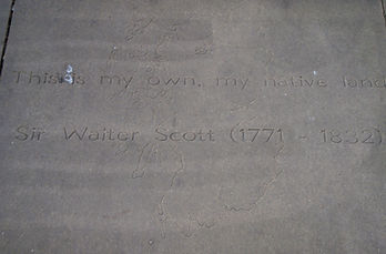 Slab in Makars' Court in honour of Sir Walter Scott