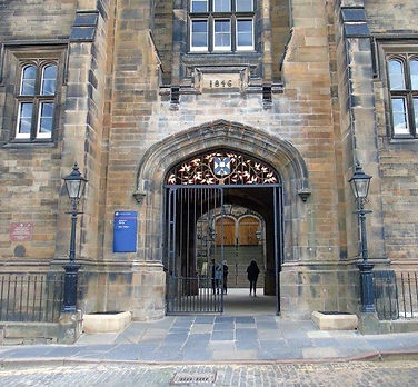University of Edinburgh New College front door Mound Place Edinburgh