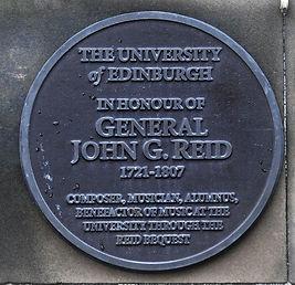 General John G Reid Reid Concert Hall Plaque