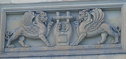 winged lions at the lyre of Apollo queen street edinburgh