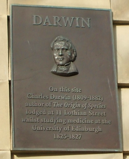 Charles Darwin lived here and attended the Medical School in Edinburgh