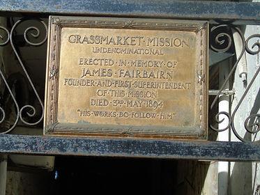 Grassmarket Mission Fairbairn plaque.