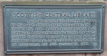 Scottish Central Library Plaque Fisher's Land