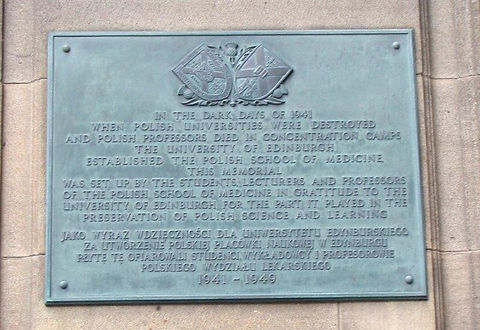University of Edinburgh Medical School Polish memorial plaque