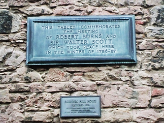 Plaque commemorating the meeting of Robert Burns and Sir Walter Scott