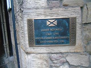 James Boswell's House Plaque James's Court Edinburgh