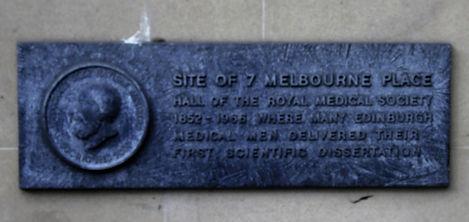 Plaque showing where Melbourne Place once was Edinburgh