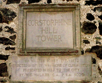 Corstorphine Hill Tower in memory of Sir Walter Scott Plaque
