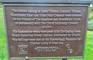 Meadows and Bruntsfield Links Railings Plaque