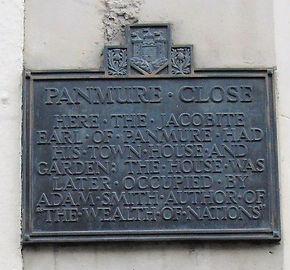 Panmure Close Plaque Canongate Royal Mil
