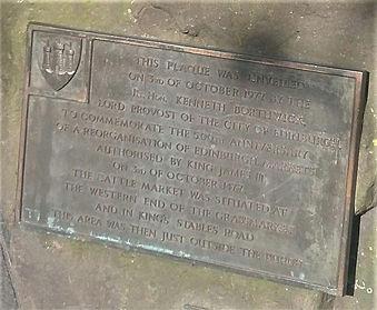 Grassmarket 500th anniversary plaque.