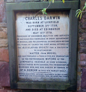 Charles Darwin Grave Stone in Andrew Duncan family Crypt
