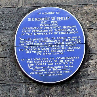 Plaque to Sir Robert W Philip North Bank Street Edinburgh