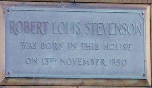 Robert Louis Stevenson's Birthplace plaque Canonmills Edinburgh