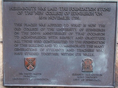 Plaque Foundation Stone University of Edinburgh Old College