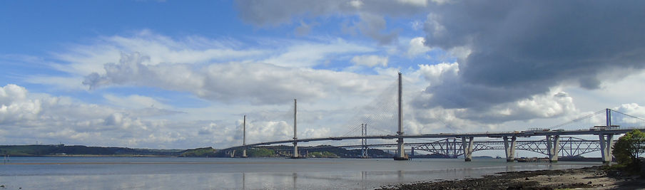 Queensferry Crossing and the two other Forth Bridges South Queensferry