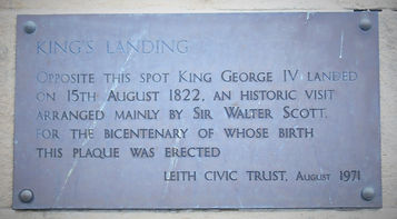 Plaque where George IV first landed in Scotland The Shore Leith