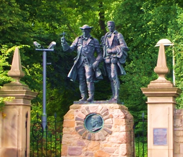 statue pictured is of Thomas Balfour and Alan Breck Stewart departing from Corstorphine Hill Edinburgh.