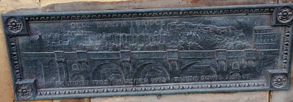 Bronze plaque showing the old North Bridge before widening