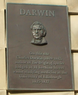Charles Darwin Plaque of where he lived in Edinburgh