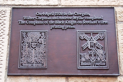 Plaque of where first book in Scotland was Printed Cowgate Edinburgh