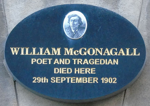 William McGonagall plaque South College Street Edinburgh