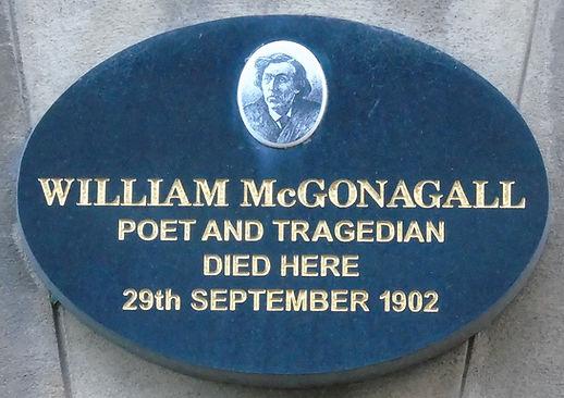 William McGonagall plaque South College Street Edinburgh