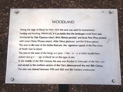 Woodlands  Plaque West Princes Street Gardens