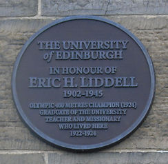 Eric Liddell Olymic Champion University of Edinburgh