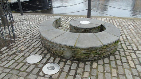 Sculpture and Discs Shore Leith Edinburg