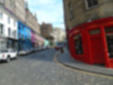 West Bow and Victoria Street Edinburgh looking up from Grassmarket.