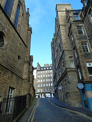 Upper Bow looking up from West Bow steps to Castlehill Edinburgh