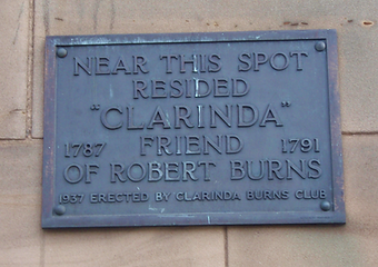 Clarinda friend of Robert Burns Lived Here