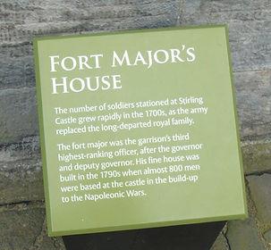 Stirling Castle Fort Major's House Plaqu