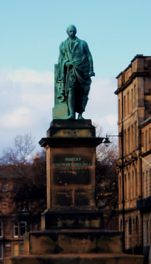 Statue of Robert Viscount Melville was erected in 1857 in Melville Crescent Edinburgh.