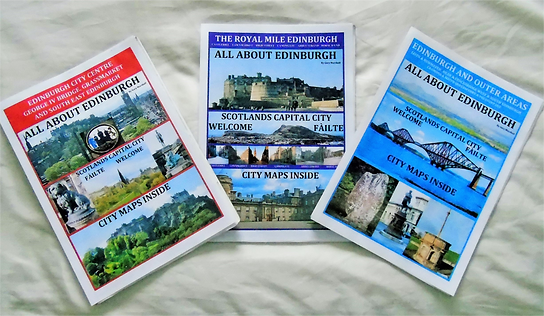 PICTURE OF ALL THREE ALL ABOUT EDINBURGH GUIDE BOOKS